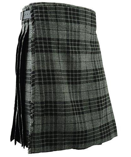 Falda Escocesa Vestido Tierras Altas Tradicional Hombres Kilt - Gris, W36