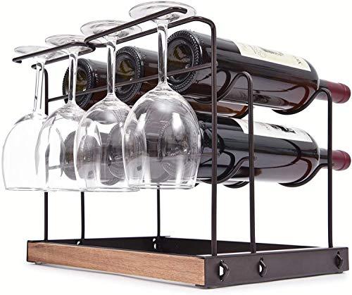 TOOLF Wine Rack 6 Bottles Countertop Wine Bottles Holder Racks Metal Copper Wine Glass Holder Wine Storage Organizer Free Standing 2 Tier Wine Display Shelves with 4 Wine Glass Drying Rack
