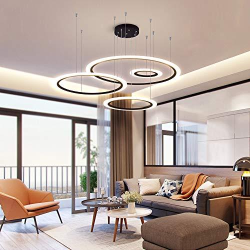SYXBB-Lampe Modern LED Pendelleuchte Dimmbar 4-Ring Rund Hängeleuchte Schwarz Kronleuchter Höhenverstellbar Decken Pendellampe für Halle Esszimmer Küche Bar Theke mit Fernbedienung,30+50+70+90cm~100w