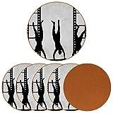 Posavasos para bebidas, diseño de silueta de mano con estampado de rayas de película de cuero, redondo, para proteger muebles, resistente al calor, decoración de bar de cocina, juego de 6