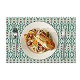 Eloria - Set di 6 tovagliette da tavolo con design astratto, resistenti al calore, tovagliette da pranzo, in tela di cotone, colore: Turchese