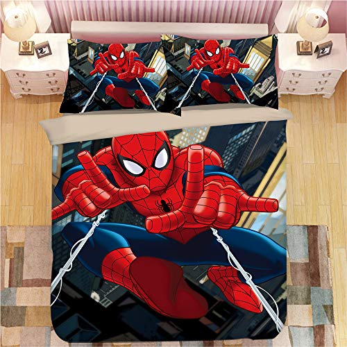 KYNWCLRW Double Duvet Covers Set, 3D Digital Print Spider-Man Bedding Luxury, Upgrade Polyester-Cotton Fade Stain Resistantquilt Cover Sets, For Adults (200X250Cm)