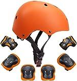 Kids Bike Helmet Toddler Helmet Boys Girls Kids Knee Elbow Pads Wrist Guards Pads 3-14 Years Kids Protective...