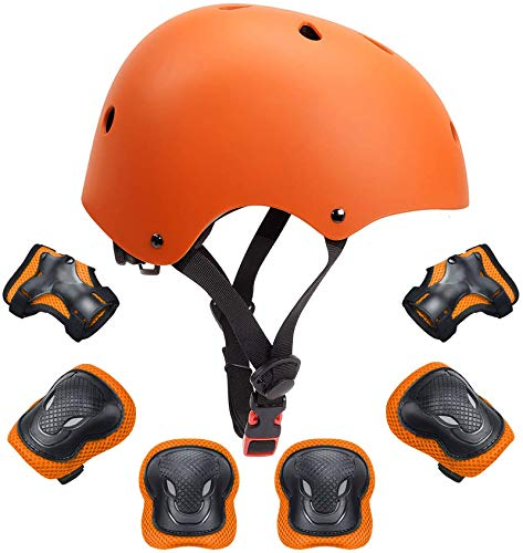 Kids Bike Helmet Toddler Helmet Boys Girls Kids Knee Elbow Pads Wrist Guards Pads 3-14 Years Kids Protective Gear Set Skateboard Cycling Scooter Sports 7Pcs (Orange, M)
