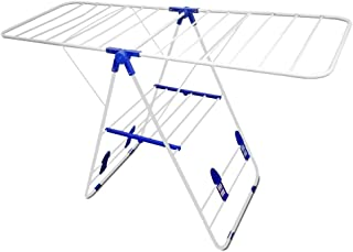 Laundry Drying Rack Compact Fold Premium Quality Heavy Duty Metal Indoor & Outdoor Use White & Blue Shoe Flaps for Drying Sneakers Shoes Space Saver By Decor Hut