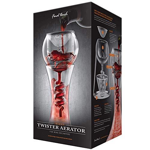 Final Touch Glass Twister Aerator ATTACHMENT WDA918 - Weinbelüfter Wein-Dekantierer Kompatibel mit den meisten Weindekantierern Includes Edelstahl Filtrierung / Aerator / Stand