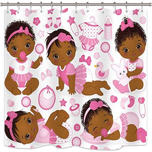 AdaCrazy Paneles Dibujos Animados Lindo para niñas niños Juguetes baño decoración para hogar Cortina Ducha bebé afroamericana Rosada poliéster Impermeable para bañera Incluye 12 Ganchos para Ducha
