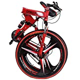 Folding Mountain Bike, 26 Inch, 21 Speed, MTB Folding Bike for Men and Women (US Stock) (Red-2)