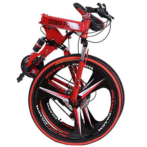 Folding Mountain Bike, 26 Inch, 21 Speed, MTB Folding Bike for Men and Women (US Stock) (Red-2)