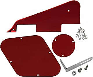 FLEOR 1Ply Red Mirror Guitar Pickguard Scratch Plate Back Plate Bracket(Silver) w/Screws Fit Gibson Les Paul Pickguard Replacement