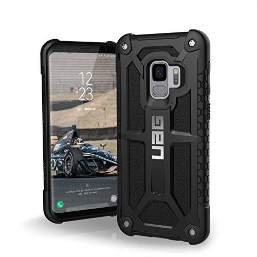 Urban Armor Gear Premium Monarch Schutzhülle nach US-Militärstandard für das Samsung Galaxy S9 - Midnight (schwarz) [Verstärkte Ecken, Sturzfest, Leder, Strukturierter Rahmen] - GLXS9-M-BLK