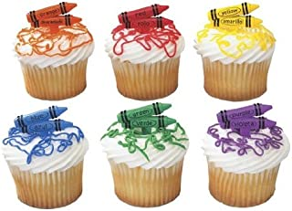 DecoPac 2D Bilingual Crayons DecoPic Cupcake Picks (12 Count)