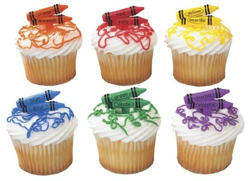 CakeSupplyShop Crayons Bilingual Orange Red Yellow Blue Green Purple -24pk Cupcake / Desert / Food Decoration Topper Picks with Favor Stickers & Sparkle Flakes