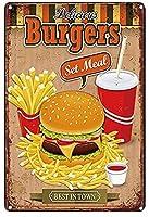 ハンバーガー ビンテージ スタイル メタル サイン アイアン ペインティング 屋内 & アウトドア ホーム バー コーヒー キッチン 壁の装飾 8 × 12 インチ