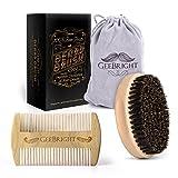 Geebright Cepillo de barba, Handemade barba de madera cepillo y peine kit con bolsa de viaje cepillo de cerdas de jabalí natural con peine de barba portable kit de la preparación para los hombres