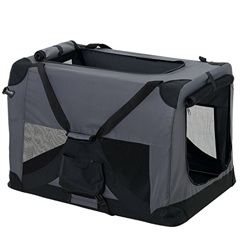 [pro.tec] Faltbare Hundetransportbox Gr. M 42 x 42 x 60cm Transportbox Katzenbox Hundebox Grau Pflegeleicht