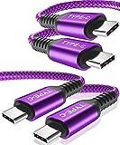 Câble USB C vers USB C 100 W (3M/Paquet de 2),Câble Charge Rapide d'alimentation Type C,Cordon...