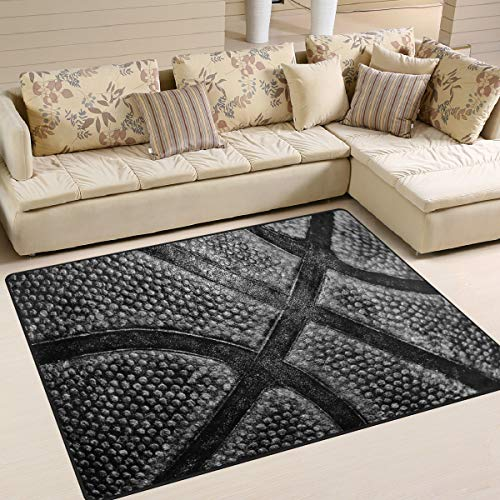 ALAZA Grunge Black Basketball Court Area Rug Rugs for Living Room Bedroom 7' x 5'