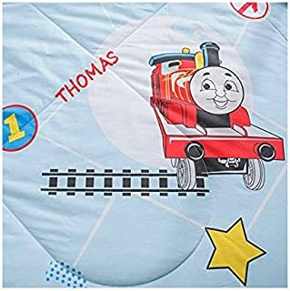 KFZ Quilt Comforter Cotton Bedspread Bed Cover for Bedding Set Quilted Quilt CJF Twin Full Queen Animal Puggy Rabbit Thomas Design for Adults Kids Teens 1pc (Thomas Train, Blue, Twin 59