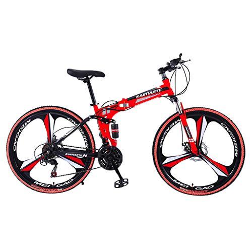 Marxways Klapprad mit Variabler Geschwindigkeit 26-Zoll-Mountainbike aus Kohlenstoffstahl 21-Gang-Fahrrad mit Vollfederung MTB Riding Durable Bike (Rot)