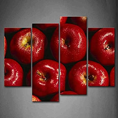 Firstwallart Red Apple With Water Drop Wall Art Painting Pictures Print On Canvas Food The Picture For Home Modern Decoration
