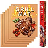 Hostaque Copper Grill Mats Non Stick - Set of 5 BBQ Grill Mat Reusable - Heavy Duty Baking & Grilling Mats - Easy to Clean Barbecue Grilling Accessories - Work on Gas Charcoal Electric Grill Oven
