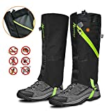 IC ICLOVER Snow Gaiters, 600D Oxford Waterproof Heavy Duty Leg Boot Cover Anti Bite/Dust/Mud/Rock/Thorns for Hunting Hiking Skiing Camping Climbing Breathable High Leg Protection (Medium - Black)