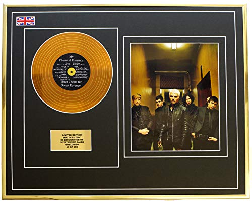 Everythingcollectible My Chemical Romance/Mini Disco in Metallo Dorato & Display Foto/Edizione Limitata/COA/Three Cheers for Sweet Revenge