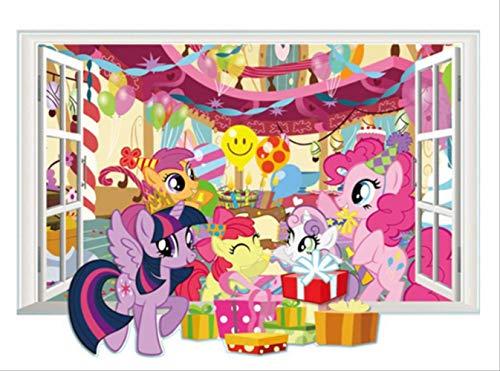 qwerdf Wand-Aufkleber, Süße Pony Anime Wand Tattoos My Little Horse Fake 3D Fenster Vinyl Aufkleber, Kinder Zimmer Dekoration Cartoon Wallpaper, 50x70cm