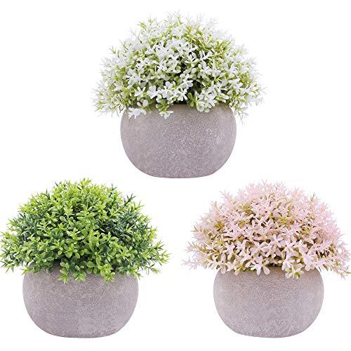 Famibay 3 unidades de flores artificiales en maceta, pequeñas plantas artificiales de plástico para balcón, mesa, salón, dormitorio, decoración (verde y blanco, rosa, 3)