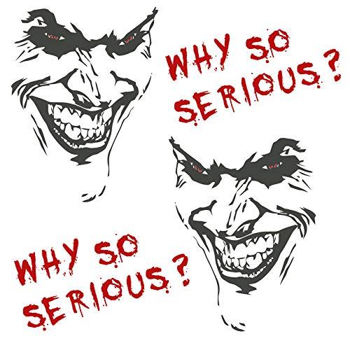 Joker Aufkleber 10x7cm Why so serious Schriftzug Spruch Fahrzeug Dekor Folie für Auto Bus Wohnwagen Kfz Zubehör Autoaufkleber Clown (Anthrazit Metallic, K059 + K060 + K061 Set 2x Joker + 2x Schrift)