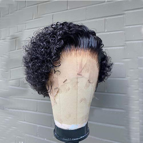 Pixie Curly 13x4 Lace Front Wigs Human Hair With Baby Hair Pre Plucked...