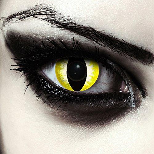Gelbe Katzenaugen Kontaktlinsen für Karneval oder Halloween Kostüm Farblinsen in gelb Design: Yellow Star Cateye + gratis Kontaktlinsenbehälter (innerhalb Dt.)