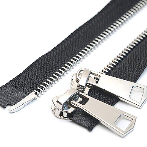 ByaHoGa 80 cm #5 Reißverschluss Metall Reißverschluß 2 Wege teilbar Reissverschluss für Jacken Nähen Mäntel (TW silberfarben)