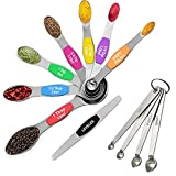 12 Piece Stainless Steel Measuring Spoons Set, Including 7 Double Sided Magnetic Measuring Spoons, 1 Leveler and 4 Mini Measuring Spoons, for Dry and Liquid Ingredients, Fits in Spice Jar.
