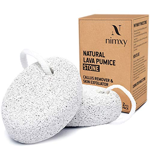 NIMXY Pumice Stone for Feet and Hands 2 Pcs – Feet Hard Skin Remover – Foot Scrubber for Dead Skin Removal – Natural Foot File and Callus Remover for Skin Exfoliation