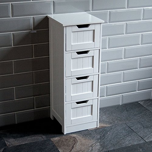 Bath Vida Priano Bathroom 4 Drawer Floor Standing Cabinet Unit Storage Wood, White