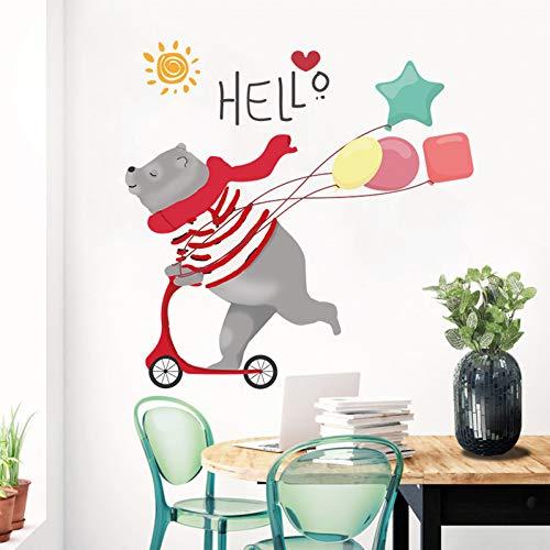 Taoyue Cartoon Skateboard beer muursticker voor kinderkamer sjaal luchtballon Grizzly Lovely Home Decor Art Vinyl Decoratie voor muren
