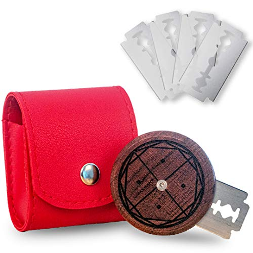 EINKORN & RYE Artisanal Round UFO Lame - Premium Crafted Leather Case and 5 Blades Included - Ambidextrous Bakers Tool for Scoring Dough