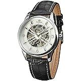 Dilwe Armbanduhr, männliche Uhr täglich wasserdicht mit PU Leder Uhrenarmband Legierung Fall für Junge Familien Freunde Geschenk(Weiß)