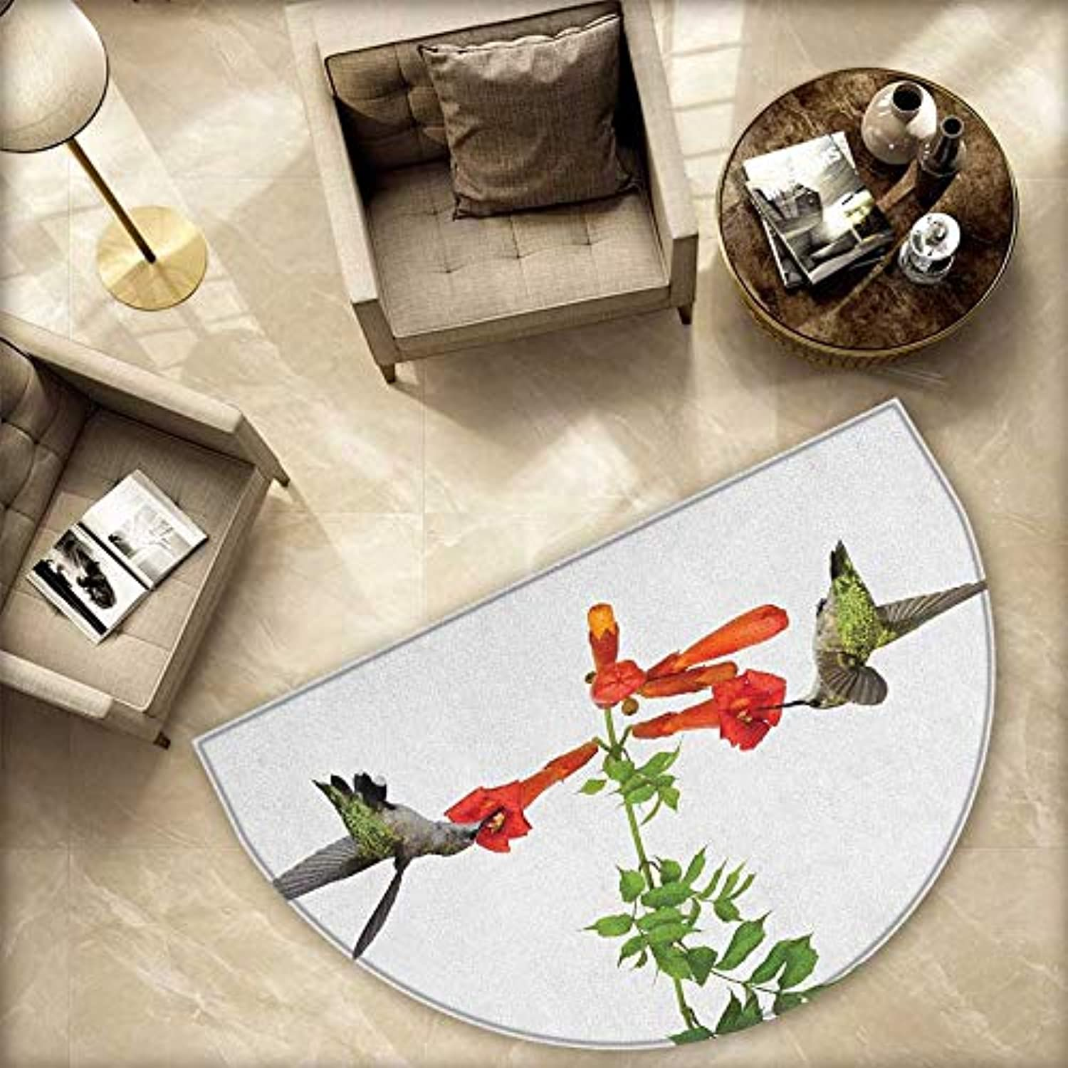 Hummingbirds Semicircle Doormat Two Hummingbirds Sipping Nectar from a Trumpet Vine Blossoms Summertime Halfmoon doormats H 78.7  xD 118.1  Red Black Green