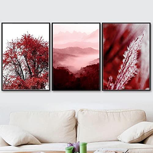 Poster caña arce rojo imprime niebla roja paisaje montaña lienzo arte pared pintura roja cuadros arte pared modernos para sala estar decoración del hogar 30×40cm×3 sin marco