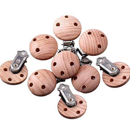 AMACOAM Pinza Chupetero Madera Clip Chupetero Bebe Clips de Chupete Redondos Clips de Suspensión para Hacer Accesorios de Chupete Clip para Chupete DIY Accesorios de Joyería 3cm 10 Piezas