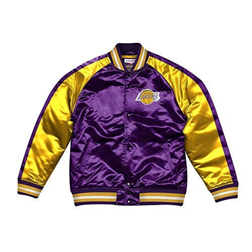 Mitchell & Ness NBA Color Blocked Satin College Jacket LA Lakers Purple/Yellow XL