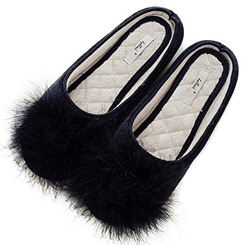 Women's Cozy Velvet Memory Foam House Slippers Non Slip Soles (9-10 M US, Black)