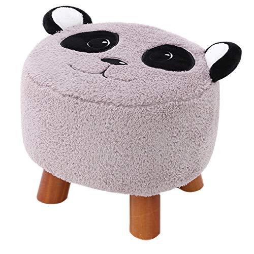 YLCJ Kleine kruk, vierkant, van massief hout, met cartoon-design, voor kinderen, stof, tafelkruk, sofa, zitbank, schoenenbank, kleine bank, grijs Donkergrijs