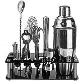 Lloow 18pcs / 750ml Camarero Kit de Acero Inoxidable Cocktail Shaker Set Bebida Mixer Bar Barra de establecimiento Supplie con el Soporte