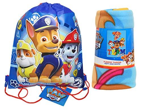 Paw Patrol Northwest Fleece Throw Blanket & Bag Chase Marshall Skye & Rubble (Sling Bag)