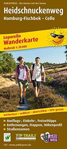Heidschnuckenweg, Hamburg-Fischbek - Celle: Leporello Wanderkarte mit Streckenbeschreibung, Entfernungen und Höhenprofil, wetterfest, reißfest, ... 1:35000 (Leporello Wanderkarte: LEP-WK)