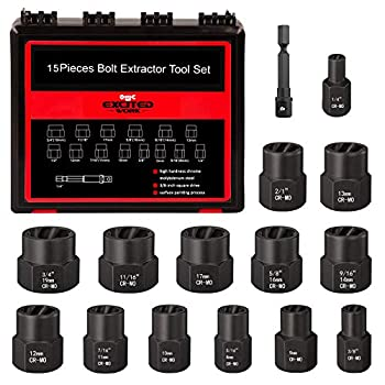 Impact Bolt Nut Remover Kit EXCITED WORK 15 Pieces Bolt Extractor Socket Tool Set with Portable Solid Case-Easy to Remove the Rusty and Stubborn Sokets and Bolts